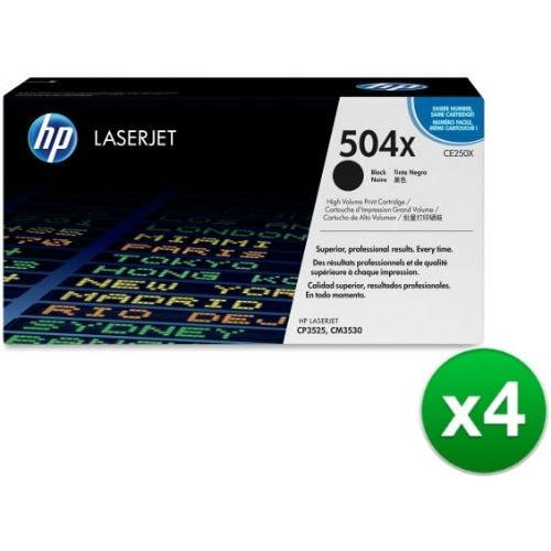 HP 504X High Yield Black Original LaserJet Toner Cartridge (CE250X)(4-Pack)