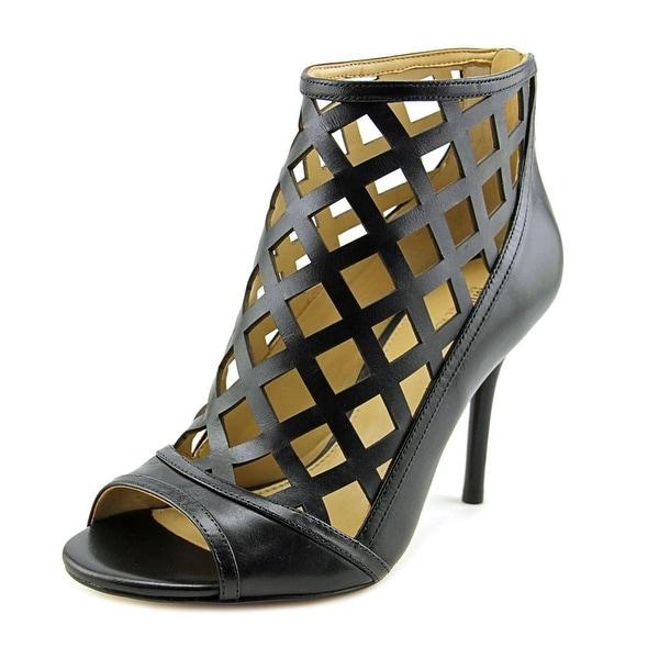 Michael Michael Kors Yvonne Open Toe Bootie Women Leather Black Bootie