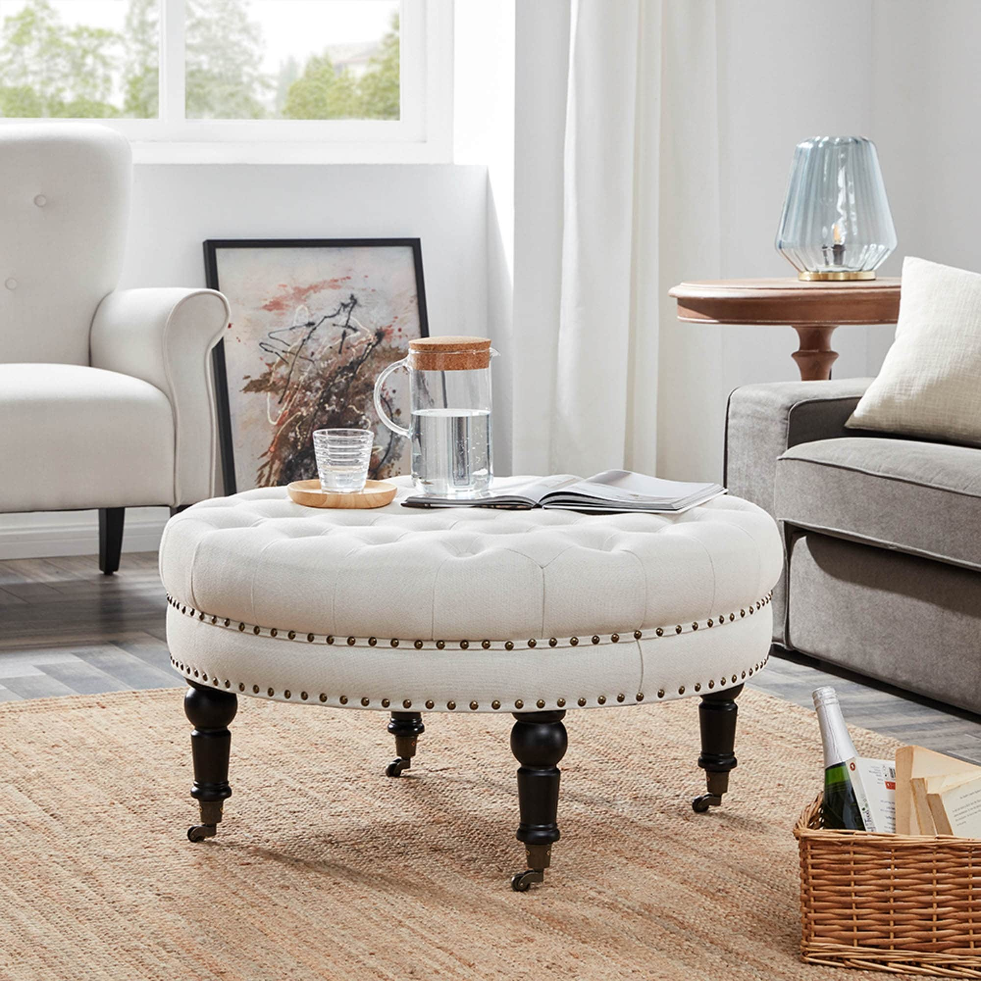- Shop Belleze Large Ottoman Cushion Round Tufted Linen Bench W/ Caster Beige  - Overstock - 17833240