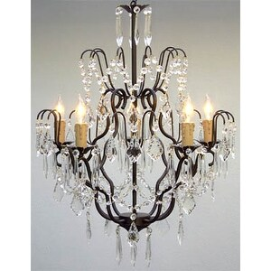 Wrought Iron Crystal Chandelier Lighting H27 x W21