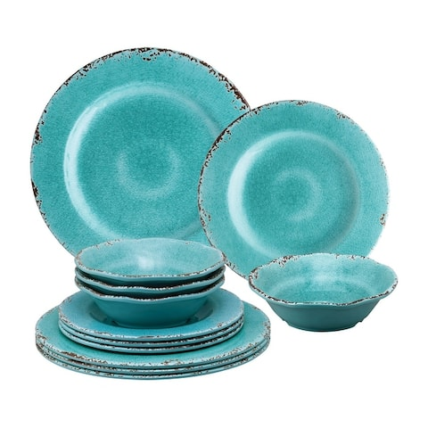 UPware 12-Piece Crackle Melamine Dinnerware Set, Turquoise