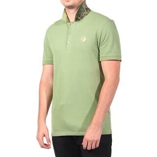 Versace Men's Cotton Baroque Print Undercollar Polo Shirt Olive Green