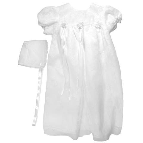 Baby Girls White Lace Satin Ribbon Bonnet Christening Dress Outfit