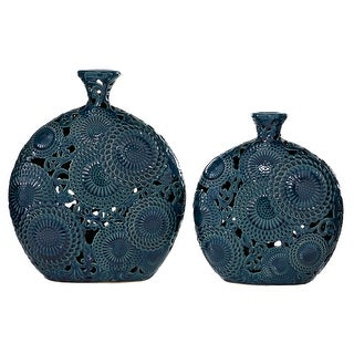 "Round Textured Patterned Ceramic Blue Vases Set Of 2 13"" 16"" - 13 x 5 x 16"