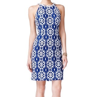 Nine West NEW Blue White Floral Lace Womens Size 16 Halter Sheath Dress