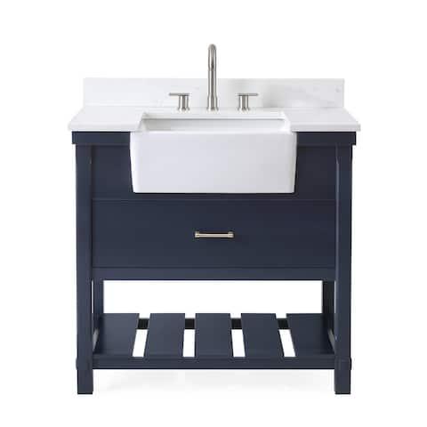 36-Inches Kendia Navy Blue Farmhouse Sink Bathroom Vanity