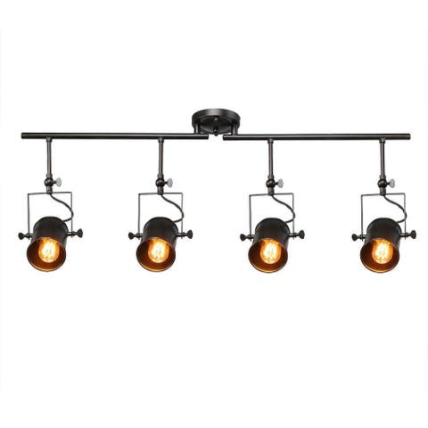 4 light industrial black track ceiling light