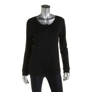Karen Scott Womens Cardigan Sweater Button-down Crew neck