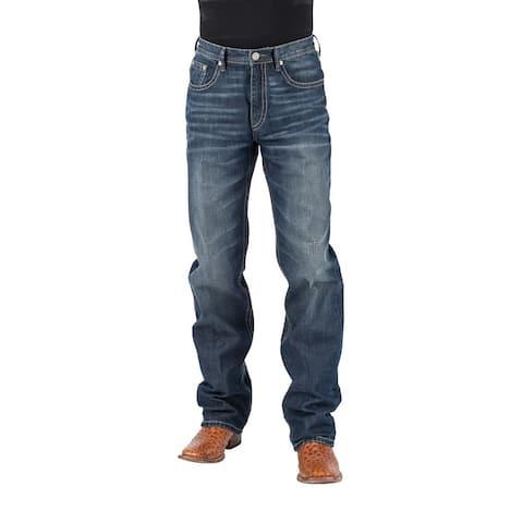 Stetson Western Jeans Mens Bootcut Blue Button