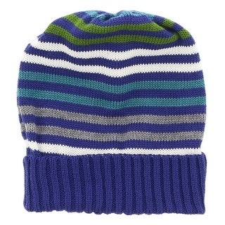 Missoni Blue Knitted Beanie Wool Blend Hat