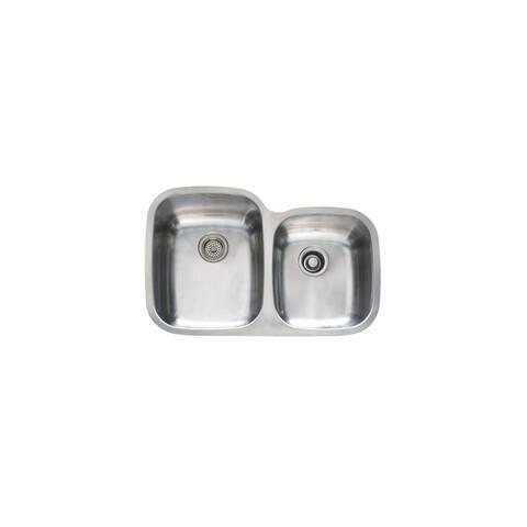 """Mirabelle MIRUC3221L 31-1/2"""" Double Basin Stainless Steel Kitchen Sink with 60/40 Split - Undermount Installation -"""
