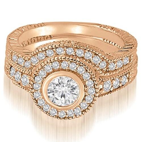 0.90 cttw. 14K Rose Gold Antique Milgrain Halo Bridal Set