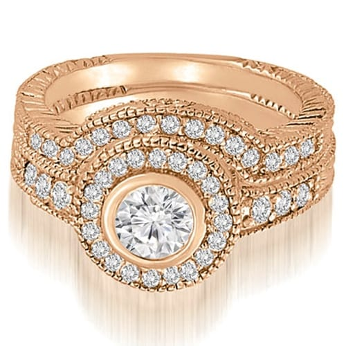 1.15 cttw. 14K Rose Gold Antique Milgrain Halo Bridal Set