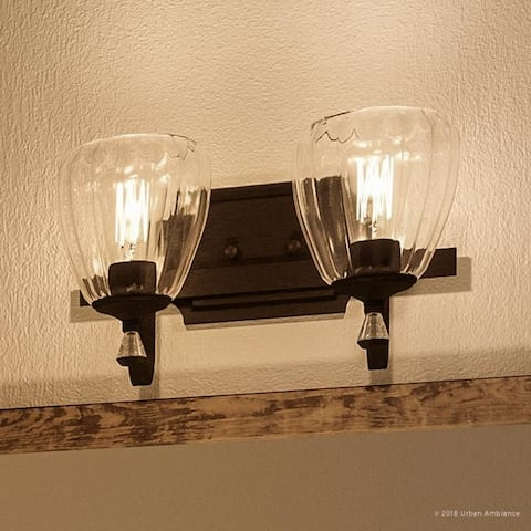 """Luxury Crystal Bathroom Vanity Light, 7.5""""H x 14""""W, with French Country Style, Olde Bronze Finish by Urban Ambiance"""
