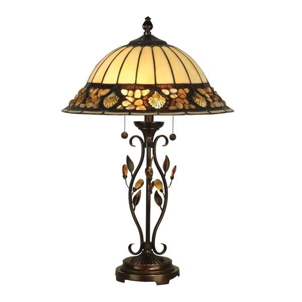"Dale Tiffany TT90172 16"" x 27"" Pebblestone Table Lamp - antique golden sand - n/a"