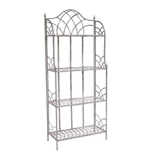 27.5 x 66 Four Tier Grey Iron Decorative Footed Shelf with Finial Top