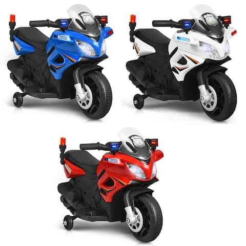 Gymax 6V Electric Toy Motorcycle Kids Ride On Police Scooter w/