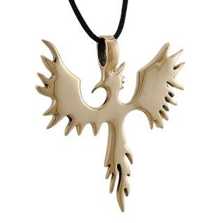 Large Polished Goldtone Phoenix Pendant W/ Cord Necklace Rebirth
