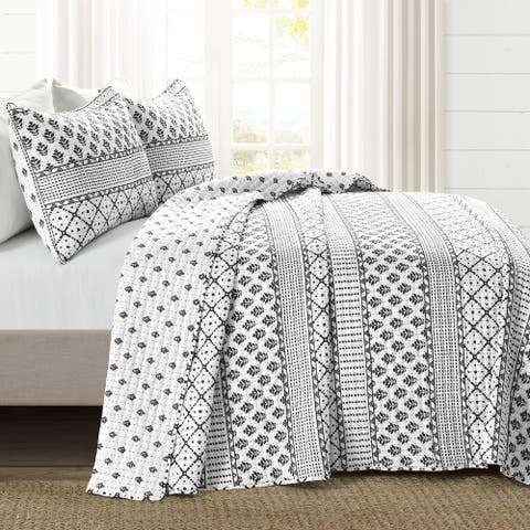 Lush Decor Monique Stripe 3 Piece Quilt Set