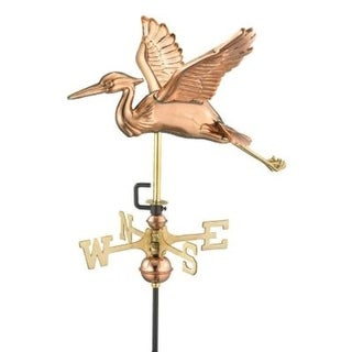 """18"""" Handcrafted Polished Copper Blue Heron Outdoor Weathervane with Garden Pole"""