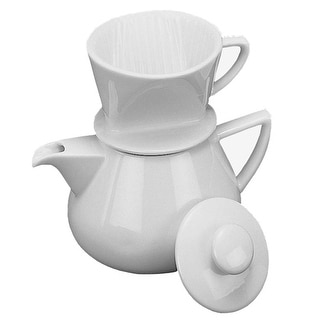 HIC NT1044 Drip with Pot Coffee Maker, White Porcelain