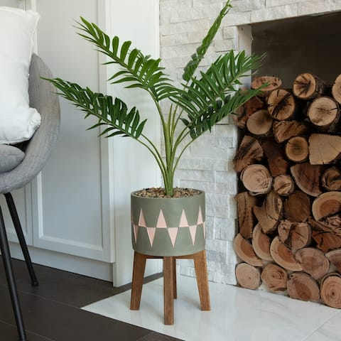 3.15'FT Palm in Cement Planter on Wood stand - ONE-SIZE