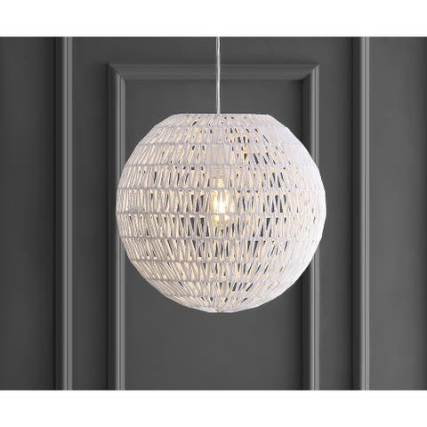 "Luna 15.7"" Woven Rattan Orb LED Pendant, White by JONATHAN Y"