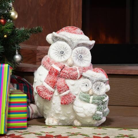 Alpine Corporation Winter Owl Statue - White