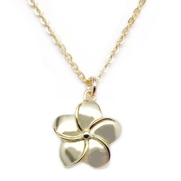 "Julieta Jewelry Plumeria Flower Gold Charm 16"" Necklace"