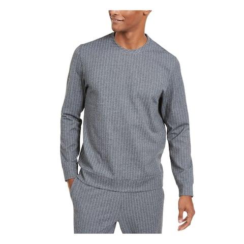 ALFANI Mens Gray Pinstripe Long Sleeve Crew Neck Classic Fit Cotton Sweater XXL