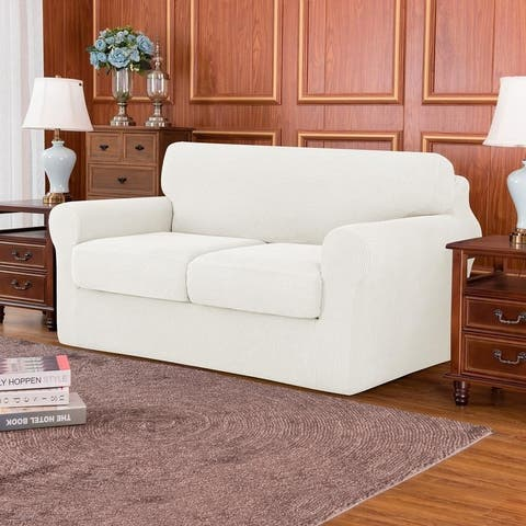 Subrtex Slipcover Stretch Loveseat Cover with Separate Cushion Cover