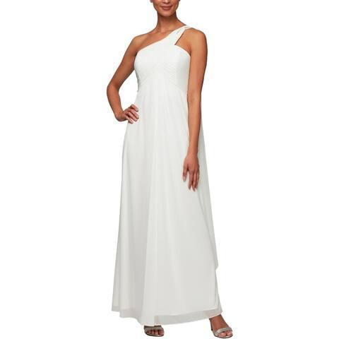 Alex Evenings Womens Evening Dress Pleated One Shoulder