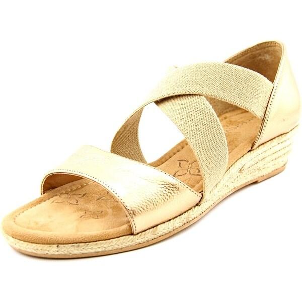 Comfortiva Brye Women N/S Open Toe Suede Gold Wedge Sandal