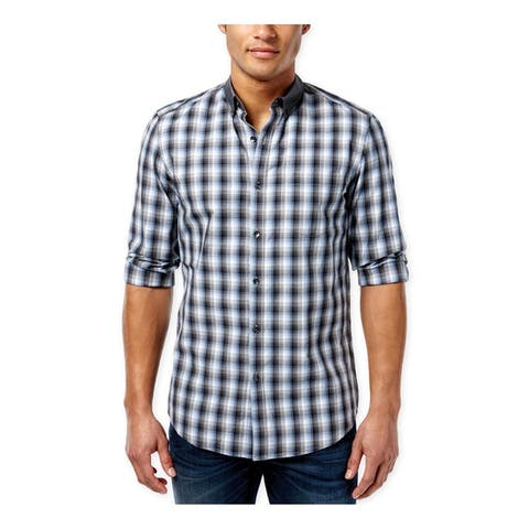 Kenneth Cole Mens Checked Super Slim Button Up Shirt