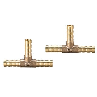 "15/64"" Brass Barb Hose Fitting Tee 3Way Connector Joiner Air Water Fuel Gas 2pcs - 6mm 2pcs"