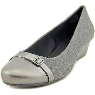 Easy Spirit Duana Women W Open Toe Leather Gray Wedge Heel