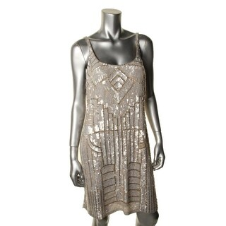 Adrianna Papell Womens Petites Cocktail Dress Embellished Sleeveless - 8P