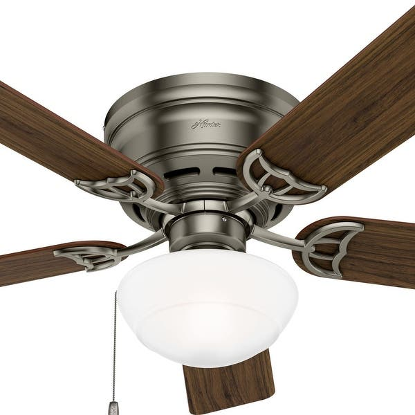 Hunter 52 Low Profile Ceiling Fan With Light Kit Pull Chain Overstock 8688908