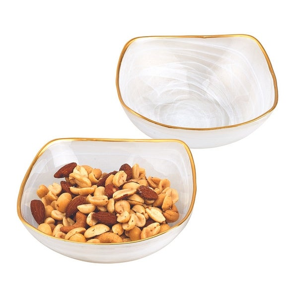 """Pair of White Alabaster 6"""" Square Glass Bowls With Gold Rim. Opens flyout."""
