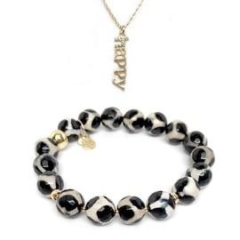 Black & White Agate Bracelet & CZ Happy Gold Charm Necklace Set