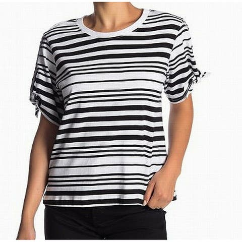 Abound Black White Womens Size Small S Striped Short Sleeve Knit Top 961