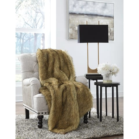 Milton Contemporary Faux-Fur Brown/Black Throw