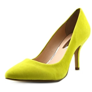 INC International Concepts Zitah Women Pointed Toe Leather Yellow Heels