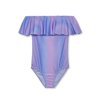 Stella Cove Girls Pink Blue Pastel Ombre Ruffle One Piece Swimsuit