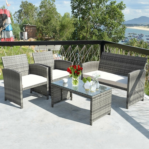 Costway 4PCS Patio Rattan Furniture Set Conversation Glass Table Top. Opens flyout.