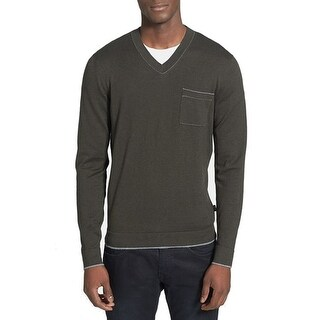 Boss Hugo Boss NEW Olive Green Mens Size Large L Slim V-Neck Sweater