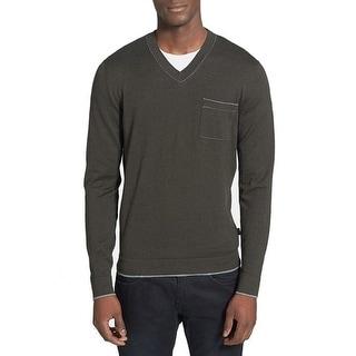 Boss Hugo Boss NEW Olive Green Mens Size XL Slim V-Neck Sweater