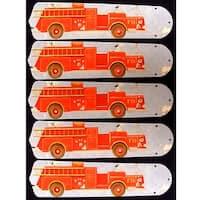 Big Firetruck Custom Designer 52In Ceiling Fan Blades Set - Multi