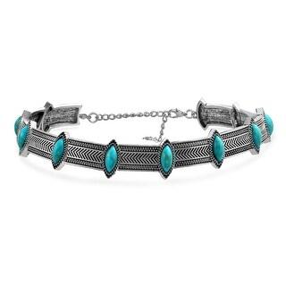 Bling Jewelry Southwestern Style Imitation Turquoise Choker Rhodium Plated Necklace 12 Inches