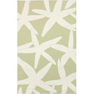 2' x 3' Nautical Starfish Sage Green and White Hand Woven Wool Area Throw Rug